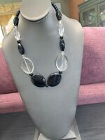 "Ladies Women's Vintage Black And  Clear  Lucite Beaded Necklace  20"" Long"