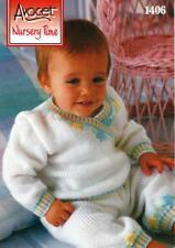 AV1406 BABIES DK 2 SWEATER & PANTS SETS (1 EMBROIDERED) KNITTING PATTERN