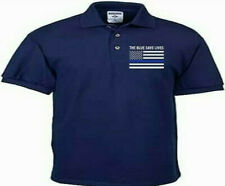 THE BLUE SAVE LIVES.HONORING OUR POLICE OFFICERS. EMBROIDERED LEFT CHEST