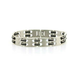 Men's Titanium | And Black Rubber | 14mm Wide Bracelet