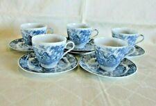 Vintage Japanese Tea Set Blue & White Country Scenery Pattern *10 Piece VGC