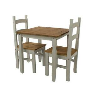 Dining Set With Grey Solid Waxed Pine Square Table & 2 Matching Dining Chairs