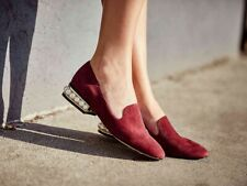 NIB Women's Nine West Nadie Suede Leather Pearl Heel Loafer Shoes Red Size 6.5
