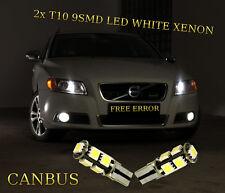 VOLVO V50 V70 V90 2x T10 9SMD LED WHITE BULBS SIDELIGHTS CANBUS FREE ERROR