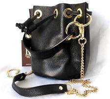 DIVA'S DV ITALY Hand cross body Bag women black Genuine Leather gold chain strap