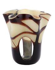 """New 7"""" Hand Blown Glass Art Vase Black Amber Brown Handkerchief Ruffle Italian"""