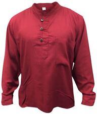 Men Hippie Linen Collarless Grandad Shirt Full Sleeve Boho Casual Seasonal Tops
