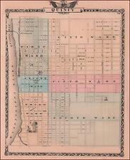 QUINCY, ILLINOIS, Large City Map, Original 1876