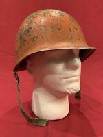 ORIGINAL WWII Front Seam Damage Control M1 Helmet With Original Liner - US Navy