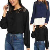 Womens Lace Strappy Blouse Top Ladies Casual Chiffon Long Sleeve Shirt Fit Shirt