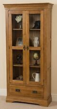 French Rustic Solid Oak Wood Display Cabinet Unit 2 Doors 2 Drawers Furniture