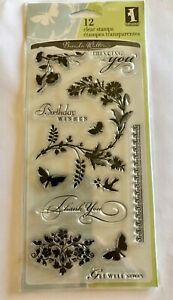 Inkadinkado Clear Rubber Stamps Garden Flowers 12 Stamps 97617 NEW