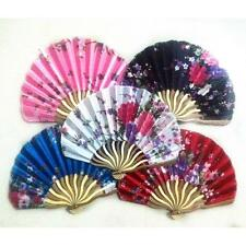 New Fashion Chinese Classic Flower Printing Bamboo Silk Fabric Folding Hand Fan