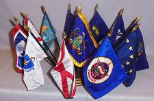 Vintage American U.S. State Flag Set & Stand - Maine, Vermont, Massachusetts ++