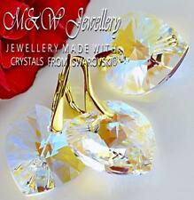 Gold Plated 925 Silver Set Earrings/Pendant Crystals From Swarovski® -18mm HEART