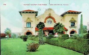 Sunset Depot & Park, San Antonio, Texas TX - Early 1900s Vintage Postcard
