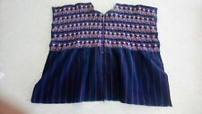 Denim, Embroidered Guatemalan; Mayan; Central American Huipil Woman's Top Poncho
