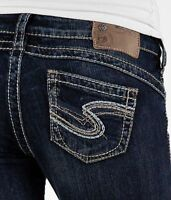 Womens Silver Jeans Super Low Rise Tuesday 16 1/2 Slim Bootcut 24 25 DEFECT