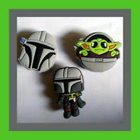 3 Mandalorian & Baby Yoda Quality Silicone Shoe Charms for Crocs *USA Seller*