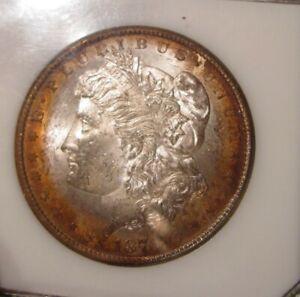 1878 CC Morgan silver dollar - BU GEM, PCI Green Slab, Toning both sides 39