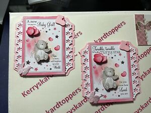 2 x Decoupage Pictures of NEW Baby Girl Theme Toppers