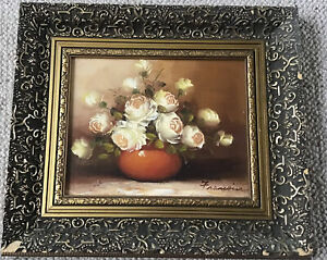 Artist Franciose Gilt Framed Oil On Board Bowl Of Yellow Roses On Table