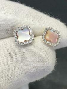 14k Yellow Gold & Genuine Diamonds Mother of Pearl Clover Halo Stud Earrings