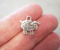 10 Sheep Charms, Farm Animal Charm Pendants, 15mm - Antique Silver