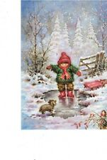 christmas cards child with dog in winter scene 13 cards with envelopes