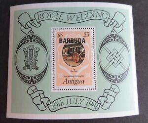 Barbuda 1981 Royal Wedding MS miniature sheet coach MNH UM unmounted mint