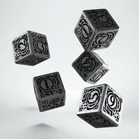 Steampunk Metal & Black 5 d6 dice by Q-workshop