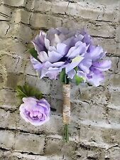 Bridal Brides made Purple Cream Flowers And Corsage Floral Set