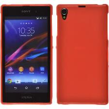 Coque en Silicone Sony Xperia Z1 - mate rouge + films de protection