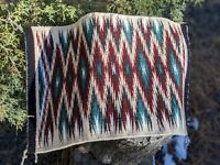Navajo Rug Wool Weave Very Rare Pattern Native American Hand Made 14 x 21 inches