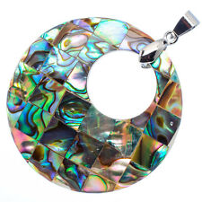"Mother of Pearl Natural Abalone Sea Shell Round Pendant 1 1/2"" Jewelry #19-Z"