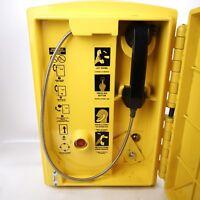 Vintage 80s 90s Emergency Telephone Call Box HIghway Freeway Street Help Yellow