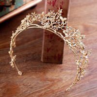 Gold Pearl Bridal Crown Rhinestone Tiara Dragonfly Wedding Party Hair Access YA