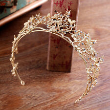 Gold Pearl Bridal CrownRhinestone Tiara Dragonfly Wedding Party Hair AccessoRCUS