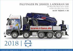 Conrad 78224 Mercedes Arocs 5-Axle w/Palfinger Crane - Lanz - 1/50 Die-cast MIB
