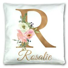 Personalised Floral Gold Initial Name Cushion Cover Gift Mum Sister Sofa Pillow