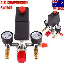 120PSI Air Compressor Pressure Switch Control Valve & Manifold Regulator Gauges