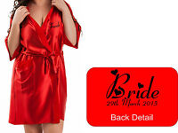 Personalised Wedding Bridal Robe Gown in RED satin Bride Mother Groom / Gift Bag