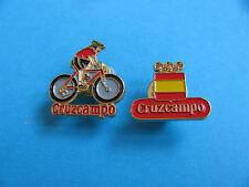 2, CRUZCAMPO Brewery Beer pin badges. VGC. Unused.  Cycle Team