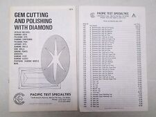 Gem Cutting And Polishing With Diamond Catalog Pacific Test Specialties 1974