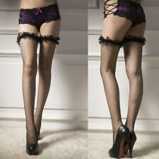 Spitze Halterlose Strapsstrümpfe Strapshalter Stockings Netzstrumpfhose Overkne