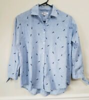 Madewell Womens Pineapple Shrunken Trapeze Button Down Shirt Top Size XS Blue