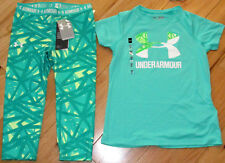 Under Armour logo top & cropped capris leggings NWT girls M YMD green