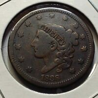 1838 LARGE CENT FROM OLD TYPE COIN COLLECTION