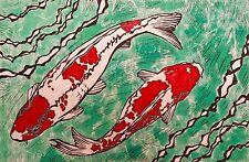 Koi Pond Original Block Print Linocut Signed K Grey Fish Japan China Japanese