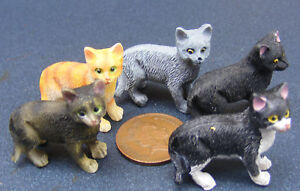 1:12 Scale Standing Resin Cat Tumdee Dolls House Miniature Garden Kitten Animal